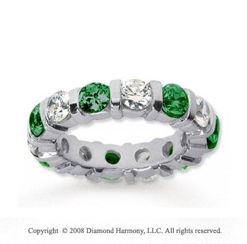 4 Carat Emerald and Diamond 18k White Gold Eternity Band