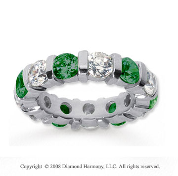 5 Carat Emerald and Diamond 18k White Gold Eternity Band