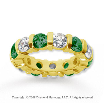 5 Carat Emerald and Diamond 14k Yellow Gold Eternity Band