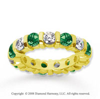3 Carat Emerald and Diamond 18k Yellow Gold Eternity Band
