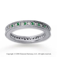 1/2 Carat Emerald and Diamond 18k White Gold Eternity Band