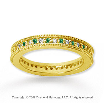 1/2 Carat Emerald and Diamond 18k Yellow Gold Eternity Band