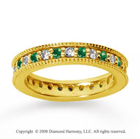 1 Carat Emerald and Diamond 18k Yellow Gold Eternity Band