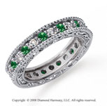 1 1/4 Carat Emerald and Diamond Platinum Eternity Band