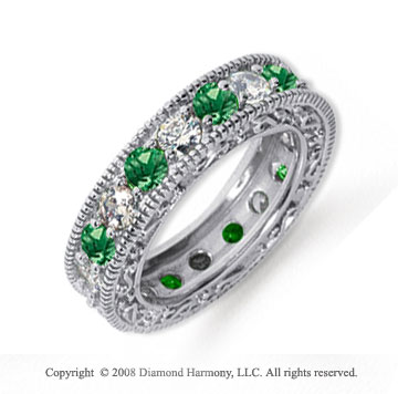 3 Carat Emerald and Diamond Platinum Eternity Band