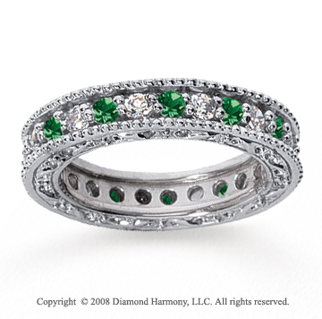 1 1/4 Carat Emerald and Diamond 14k White Gold Eternity Band