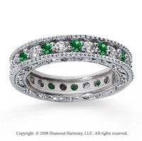 1 1/4 Carat Emerald and Diamond 18k White Gold Eternity Band