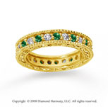 1 1/4 Carat Emerald and Diamond 18k Yellow Gold Eternity Band
