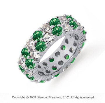 5 1/2 Carat Emerald and Diamond Platinum Eternity Band
