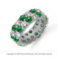 6 1/2 Carat Emerald and Diamond Platinum Eternity Band