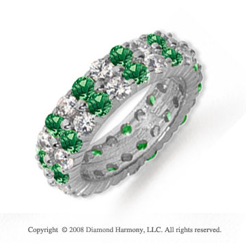 8 1/2 Carat Emerald and Diamond Platinum Eternity Band