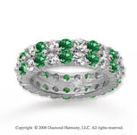 4 1/2 Carat Emerald and Diamond 14k White Gold Eternity Band