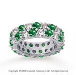 5 1/2 Carat Emerald and Diamond 14k White Gold Eternity Band