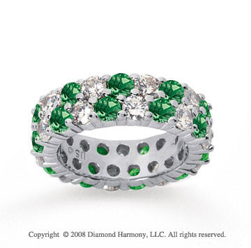 5 1/2 Carat Emerald and Diamond 18k White Gold Eternity Band