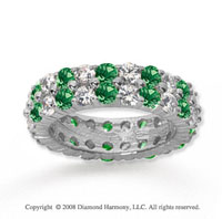 8 1/2 Carat Emerald and Diamond 18k White Gold Eternity Band