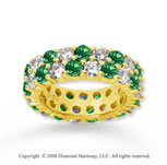 5 1/2 Carat Emerald and Diamond 14k Yellow Gold Eternity Band