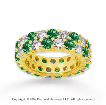 5 1/2 Carat Emerald and Diamond 18k Yellow Gold Eternity Band