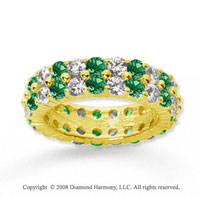 8 1/2 Carat Emerald and Diamond 18k Yellow Gold Eternity Band