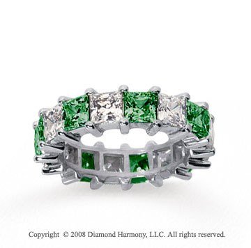 6 1/2 Carat Emerald and Diamond 14k White Gold Eternity Band