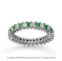 2 Carat Emerald and Diamond 18k White Gold Eternity Band