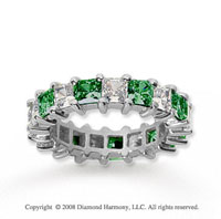 4 3/4 Carat Emerald and Diamond 18k White Gold Eternity Band