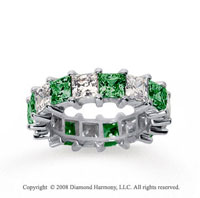 6 1/2 Carat Emerald and Diamond 18k White Gold Eternity Band