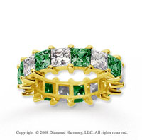 6 1/2 Carat Emerald and Diamond 18k Yellow Gold Eternity Band
