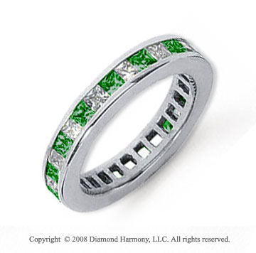 3/4 Carat Emerald and Diamond Platinum Eternity Band