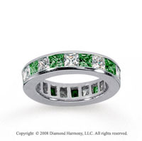4 Carat Emerald and Diamond 14k White Gold Eternity Band