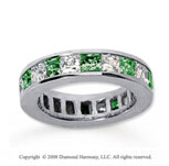 4 3/4 Carat Emerald and Diamond 14k White Gold Eternity Band