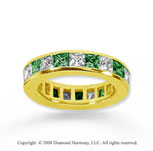 4 Carat Emerald and Diamond 14k Yellow Gold Eternity Band