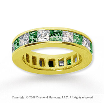 4 3/4 Carat Emerald and Diamond 14k Yellow Gold Eternity Band