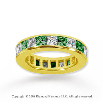 4 Carat Emerald and Diamond 18k Yellow Gold Eternity Band
