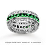 3 1/2 Carat Emerald and Diamond 18k White Gold Eternity Band