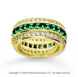 3 1/2 Carat Emerald and Diamond 14k Yellow Gold Eternity Band