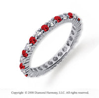1/2  Carat Ruby and Diamond Platinum Eternity Band