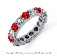 3 1/2 Carat Ruby and Diamond Platinum Eternity Band
