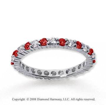 1/2  Carat Ruby and Diamond 14k White Gold Eternity Band