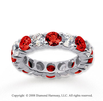 5  Carat Ruby and Diamond 14k White Gold Eternity Band