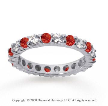 1 1/2 Carat Ruby and Diamond 18k White Gold Eternity Band