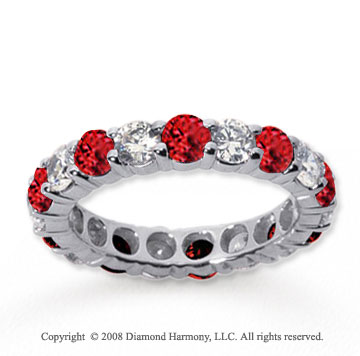 2 Carat Ruby and Diamond 18k White Gold Eternity Band