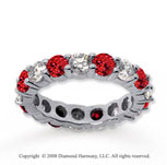 3 1/2 Carat Ruby and Diamond 18k White Gold Eternity Band