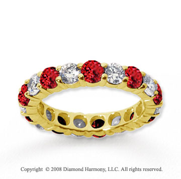 3  Carat Ruby and Diamond 14k Yellow Gold Eternity Band