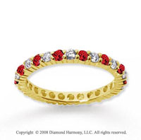1/2  Carat Ruby and Diamond 18k Yellow Gold Eternity Band