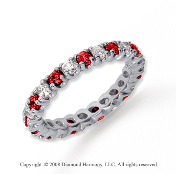 1  Carat Ruby and Diamond Platinum Eternity Band