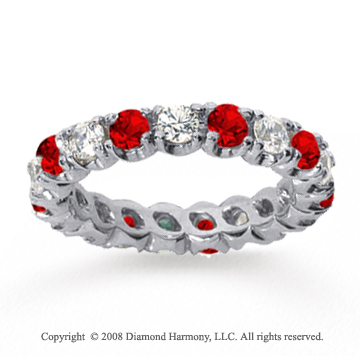 2  Carat Ruby and Diamond 14k White Gold Eternity Band