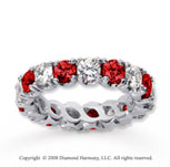 3 1/2 Carat Ruby and Diamond 14k White Gold Eternity Band