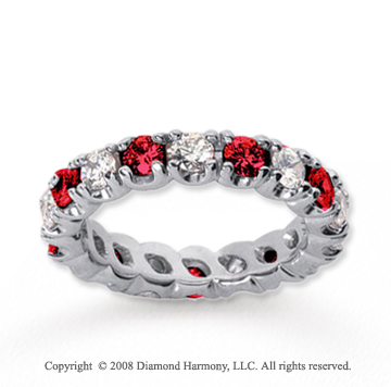 3  Carat Ruby and Diamond 18k White Gold Eternity Band