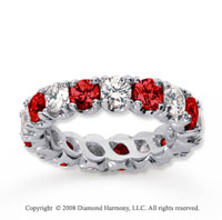 4 1/2 Carat Ruby and Diamond 18k White Gold Eternity Band