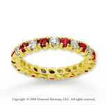 1  Carat Ruby and Diamond 14k Yellow Gold Eternity Band